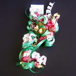 "5"" curly bow on hang tab-24bows/case, FELIZNAVIDAD"