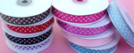 "5/8"" POLKA DOT grosgrain ribbon-25yds/roll, WHITE/BLACK POLKA DOT"