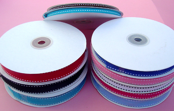 "1/4"" STITCH grosgrain ribbon-25yds/roll, LT BLUE/WHITE STITCH"