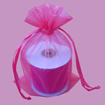 "6.5x15"" organza bag-10/pk, HOT PINK"