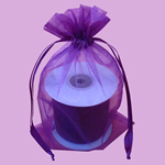 "6.5x15"" organza bag-10/pk, PLUM"