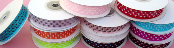 "5/8"" POLKA DOT organza ribbon-25yds/roll, TANGERINE/WHITE POLKA DOT"