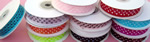 "5/8"" POLKA DOT organza ribbon-25yds/roll, WHITE/BLACK POLKA DOT"