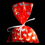 "5x8"" printed cello bag-100/pk, HEART-RED"
