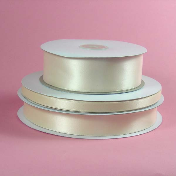"7/8"" single faced satin ribbon-100yds/roll, IVORY"